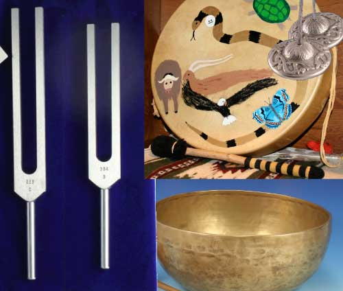 several sound tools including a drum, tuning forks and a Tibetan  bowl