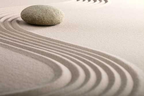 zen garden with sand and stones